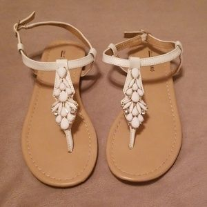 d04689844cd2 White jewelled thong sandals